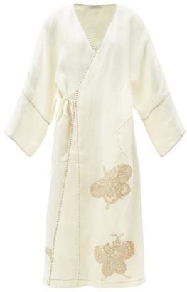 Vita Kin Kyoto Butterfly-embroidered Linen Wrap Dress - White Multi