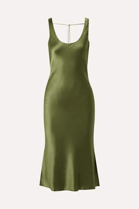 CAMI NYC The Evelyn Silk-blend Charmeuse Midi Dress - Army green