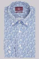 Moss Esq. Regular Fit Blue Single Cuff Floral Double Collar Shirt