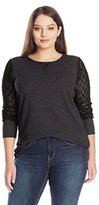 Lucky Brand Women's Plus-Size Lace Mixed Thermal Top