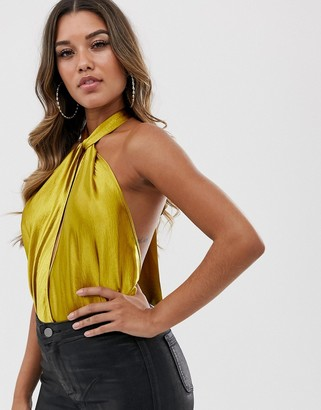ASOS DESIGN body with twist halter neck in high shine satin