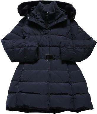 MonnaLisa Hooded Nylon Down Coat W/ Faux Fur