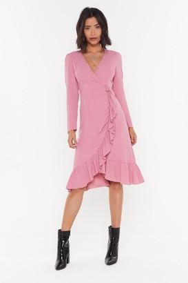 Nasty Gal Womens Get Rich Or Tie Tryin' Wrap Midi Dress - Pink - 4