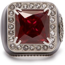 Gucci Crystal-encrusted Gg-logo Signet Ring - Womens - Red