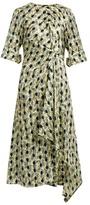 Marni Garland-print asymmetric jacquard-silk dress
