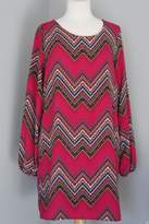 Sage Geometric Chevron Dress