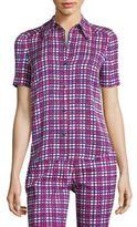 Diane von Furstenberg Micro Window Pane-Print Shirt