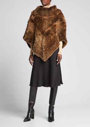 La Fiorentina Cowl-Neck Knitted Fur Poncho