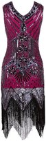 Ez-sofei Women's Vintage Sequined Embeished Tasses Gatsby Fapper Cocktai Dress (, Back)