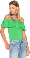 Susana Monaco Ruffle Off Shoulder Top in Green. - size M (also in S,XS)