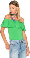 Susana Monaco Ruffle Off Shoulder Top in Green