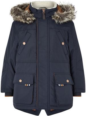 Monsoon Boys Navy Parka Coat Blue