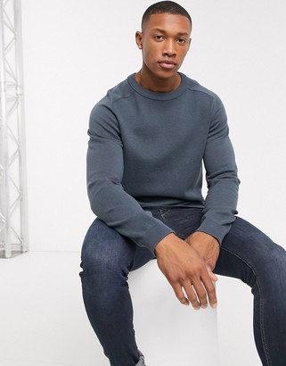 Jack and Jones waffle textured knitted sweater in blue
