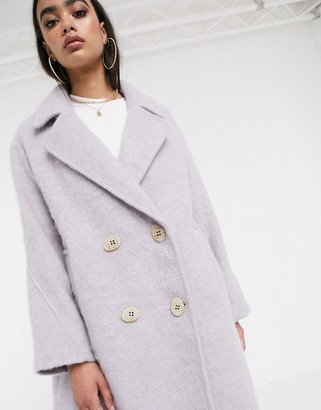Asos Design DESIGN statement coat with hero buttons in lilac-Purple