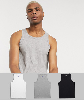 Jack and Jones Originals 3 pack vest in multi