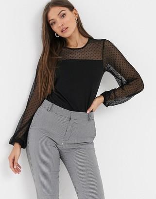 Y.A.S mesh spot print long sleeve top-Black
