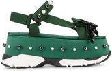 No.21 Green Jewel Platform Sandals - women - Cotton/rubber - 36.5
