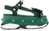 No.21 Green Jewel Platform Sandals - women - Cotton/rubber - 39
