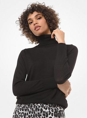 MICHAEL Michael Kors MK Wool-Blend Turtleneck Sweater - Black - Michael Kors