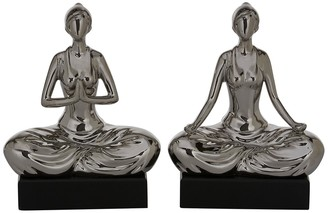 "Willow Row Ceramic Yoga Figurine Sculpture with Metallic Silver Finish - 7"" x 9"" - Set of 2"
