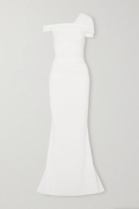 Talbot Runhof Bonette One-shoulder Ruched Stretch-crepe Gown - White