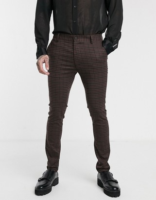 Topman skinny smart pants in brown heritage check