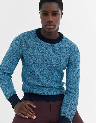 Selected multi yarn knitted sweater in 100% BCI cotton-Navy