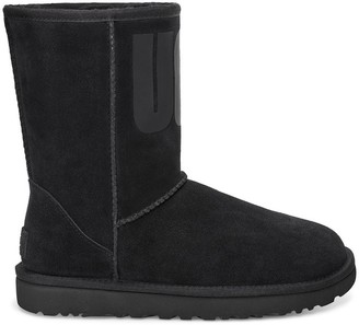 UGG Classic Short Leather Ankle Boots with Rubber Logo