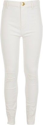 River Island Girls White ripped Kaia high rise jeggings