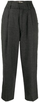 Haikure Pleated Waist Cropped Trousers