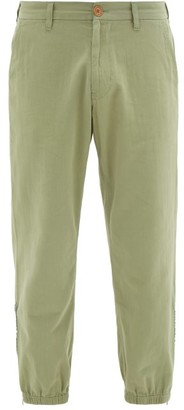 Gucci Embroidered-lyre Zipped-cuff Cotton-twill Chinos - Light Green