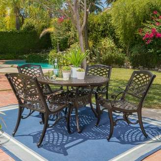 Christopher Knight Home Windley 5pc Aluminum Dining Set - Hammered Bronze