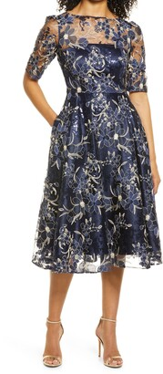 Eliza J Sequin Floral Embroidery Fit & Flare Cocktail Midi Dress