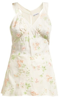 Paco Rabanne Floral-embroidered Cami Top - Womens - White Multi