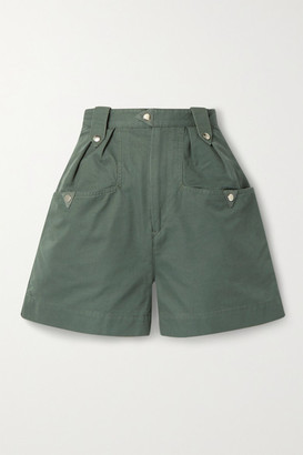 Etoile Isabel Marant Palino Suede-trimmed Cotton Shorts - Army green
