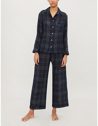 Selfridges Windowpane check linen pyjama set