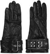 Balenciaga Buckled Leather Gloves - Black