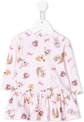 MonnaLisa Bambi Print Flared Dress