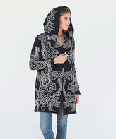 Paparazzi Black Floral Embroidered Hooded Cardigan