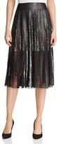 Alice + Olivia Tianna Leather Stripe Midi Skirt