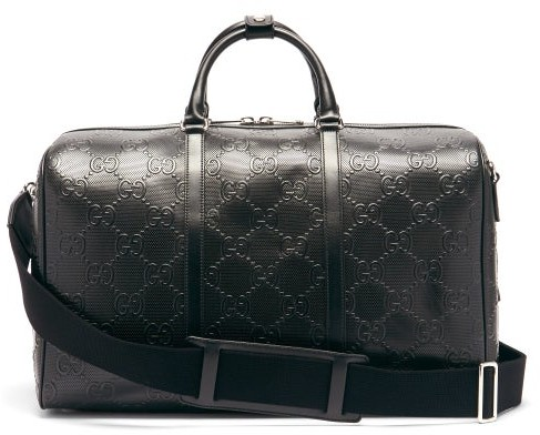 Gucci GG-monogram Perforated-leather Holdall - Black