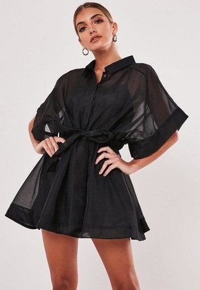 Missguided Black Organza Skater Shirt Dress