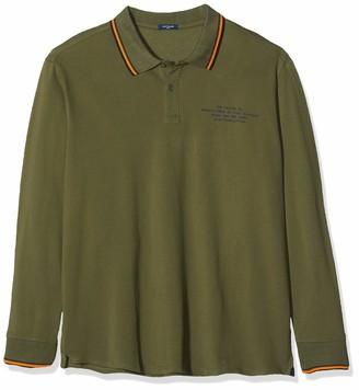 TOM TAILOR Men+ Long-Sleeved Polo Shirt - Green - XXX-Large