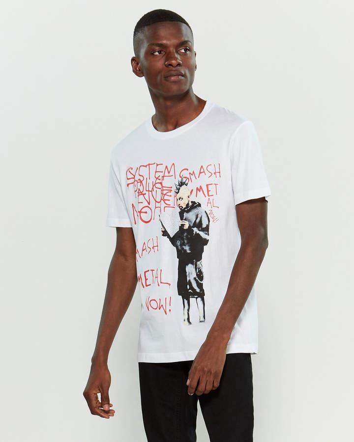 Eleven Paris Life Is A Joke By White Bansky Punk Graphic Print Short Sleeve Tee