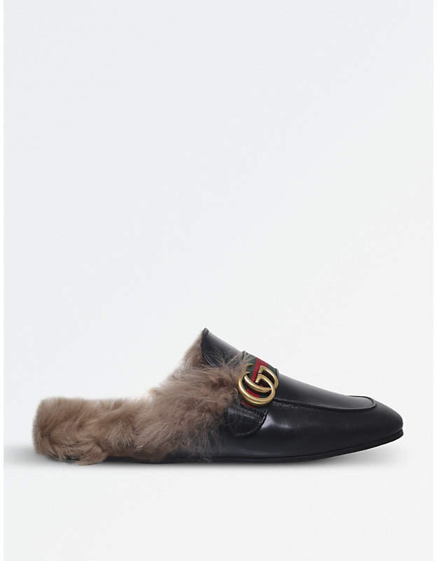 Gucci Princetown backless leather slippers