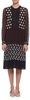 Lanvin Long-Sleeve Mixed-Media Shift Dress, Multi Colors