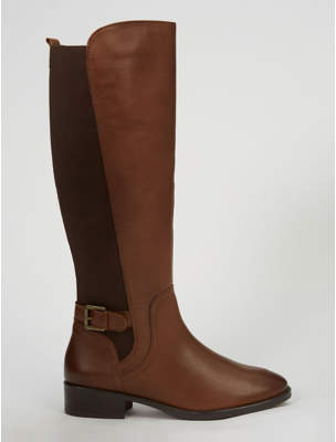 George Tan Leather Knee High Panelled Boots