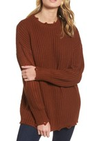 Moon River Women's Distressed Chunky Knit Sweater