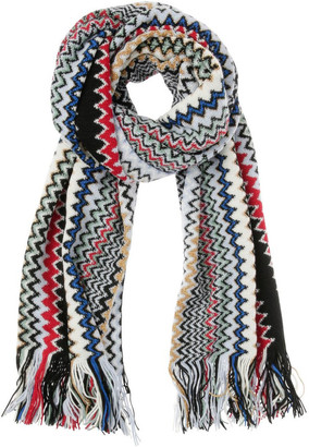 Missoni Wide Zigzag Knit Scarf with Fringe - Black/Red