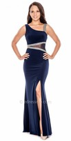 Decode 1.8 Asymmetrical Fitted Illusion Beaded Thigh Slit Evening Dress
